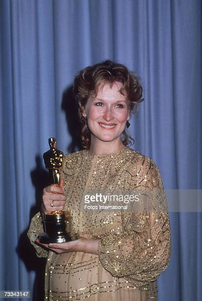 American actress Meryl Streep at the 55th Academy Awards ceremony with her Oscar for best actress awarded for her role in 'Sophie's Choice' directed...
