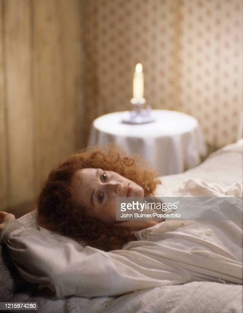 American actress Meryl Streep playing the role of Miss Sarah Woodruff in the romantic drama, The French Lieutenant's Woman, during filming at Lyme...