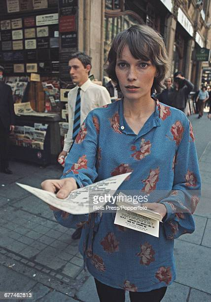 American actress Mia Farrow walks along Shaftesbury Avenue in London handing out leaflets to publicise an upcoming special evening at the Lyceum...
