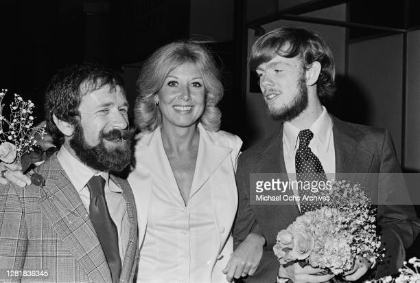 American actress Michael Learned with actor Jon Walmsley her costar in the television series 'The Waltons' in Los Angeles California 7th May 1976