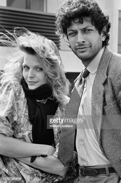 American actress Michelle Pfeiffer and American actor Jeff Goldblum promoting their film 'Into the Night' in London England 10th April 1985 The film...