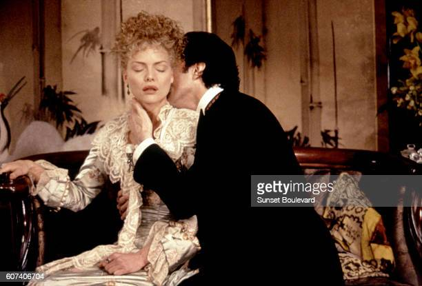 American actress Michelle Pfeiffer and British actor Daniel DayLewis on the set of The Age of Innocence based on the novel by Edith Wharton and...
