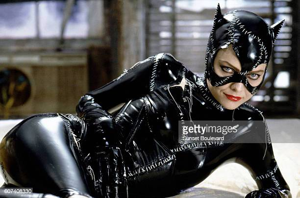 American actress Michelle Pfeiffer on the set of Batman Returns, directed by Tim Bruton.