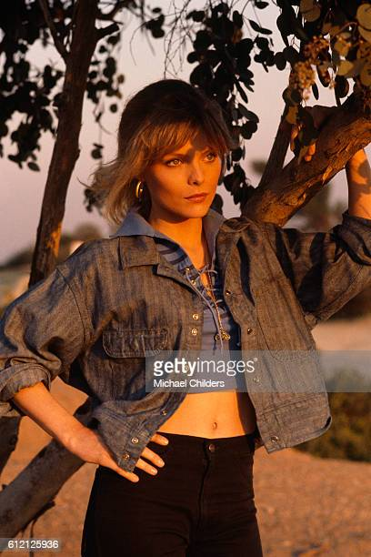 American actress Michelle Pfeiffer on the set of Grease 2 by American director Patricia Birch
