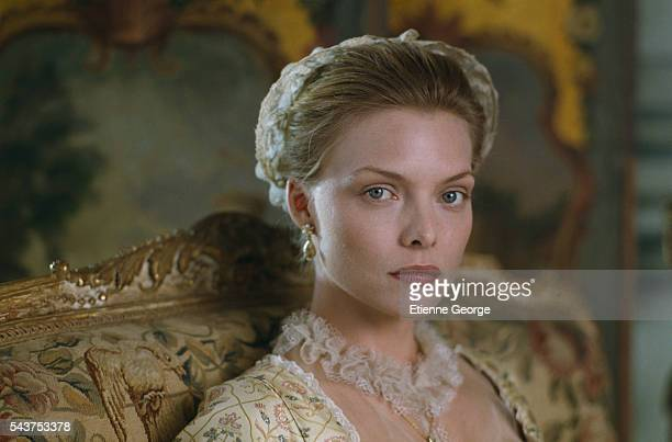 American actress Michelle Pfeiffer on the set of the film 'Dangerous Liaisons' directed by English director Stephen Frears and based on the Choderlos...