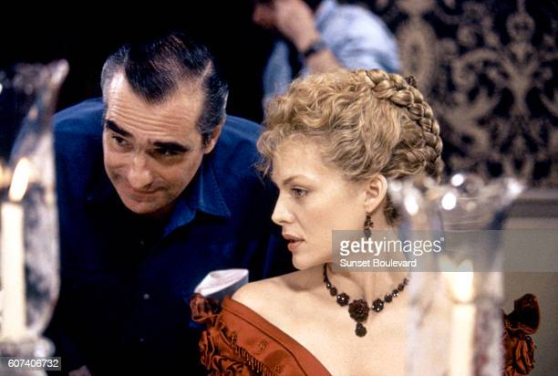 American actress Michelle Pfeiffer with director Martin Scorsese on the set of his movie The Age of Innocence based on the novel by Edith Wharton
