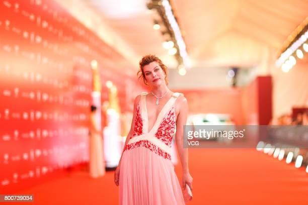 American actress Milla Jovovich arrives at red carpet of Golden Goblet Awards and Closing Ceremony of 20th Shanghai International Film Festival at...