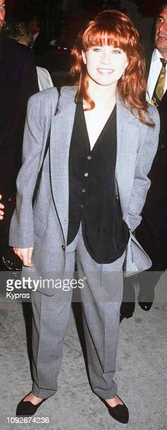 American actress Nancy McKeon at the premiere of the film 'Crazy in Love' at the Writers' Guild Theater in Beverly Hills, California, 21st July 1992.
