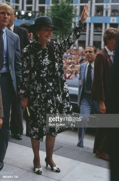 American actress Nancy Reagan the wife of American President Ronald Reagan in London for the wedding of Prince Charles and Lady Diana Spencer London...