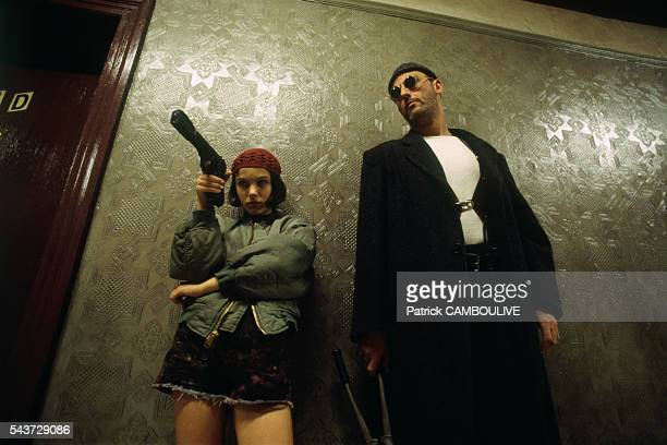 American actress Natalie Portman and French actor Jean Reno on the set of the film Leon directed by Luc Besson