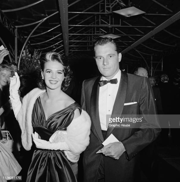 American actress Natalie Wood and American socialite and businessman Conrad Hilton Jr attend the premiere of 'Island in the Sun' US June 1957