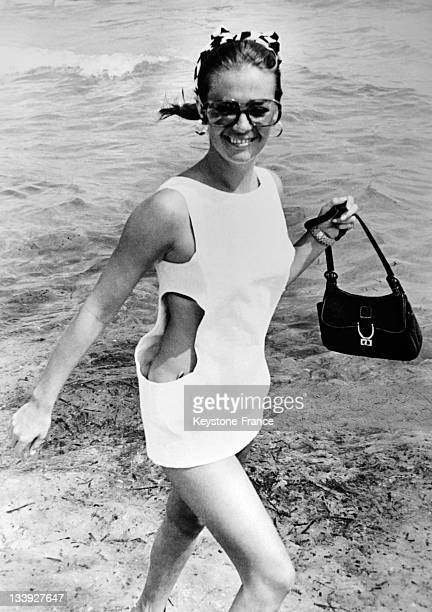 American actress Natalie Wood pictured on the fashionable Tahiti Plage on August 101968 in SaintTropezFrance