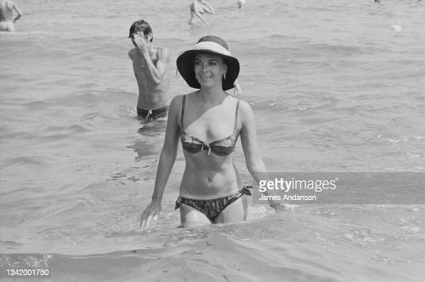 American actress Natalie Wood swimming in Saint-Tropez, France