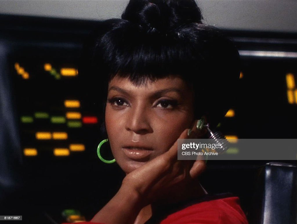 American actress Nichelle Nichols appears as Uhura in a scene from ...