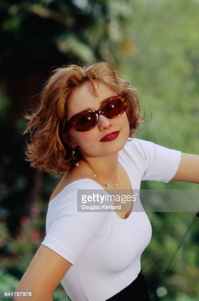 American actress Nina Siemaszko wears sunglasses during the filming of the 1992 motion picture Wild Orchid II Two Shades of Blue The American film...