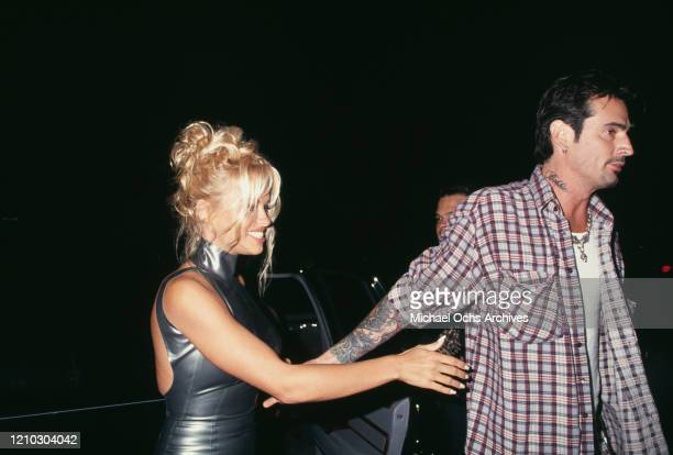 American actress Pamela Anderson and American drummer Tommy Lee at their post Wedding Party in Los Angeles California US 24th February 1995