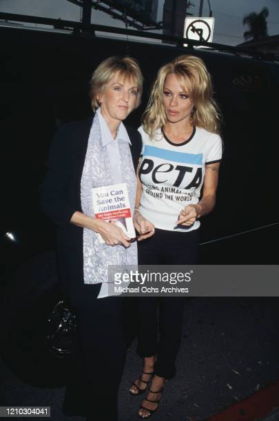 American actress Pamela Anderson and British animal welfarist Ingrid Newkirk attend the PETA animal rights group book party for book 'You Can Save...