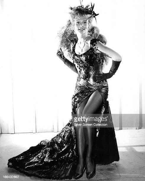American actress Patrice Wymore in a showgirl outfit circa 1955