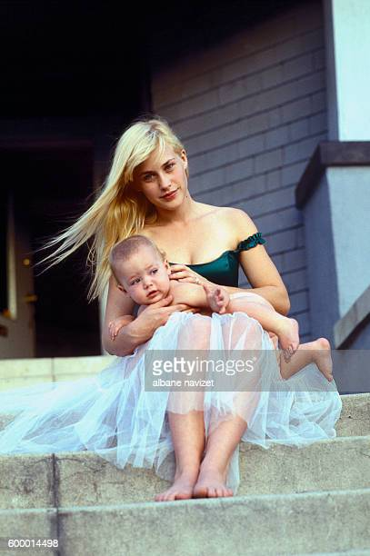 American actress Patricia Arquette with her son Enzo she had with musician Paul Rossi