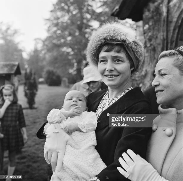 American actress Patricia Neal at the christening of her daughter Lucy Dahl in Little Missenden UK 23rd October 1965 Lucy's father is the writer...