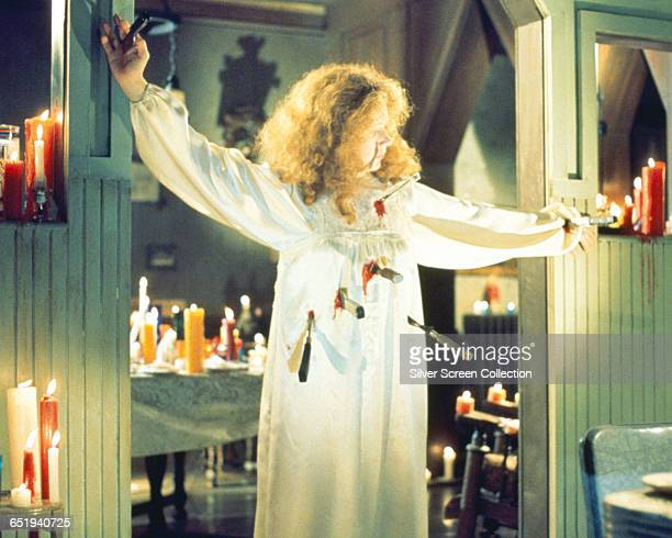 American actress Piper Laurie comes to a grisly end in the horror film 'Carrie' 1976