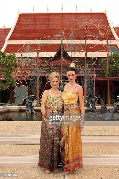 American actress Rachel Nichols and friend Juliet QuintinArchard attend the 'Thai Night' event on the second day of the Bangkok International Film...