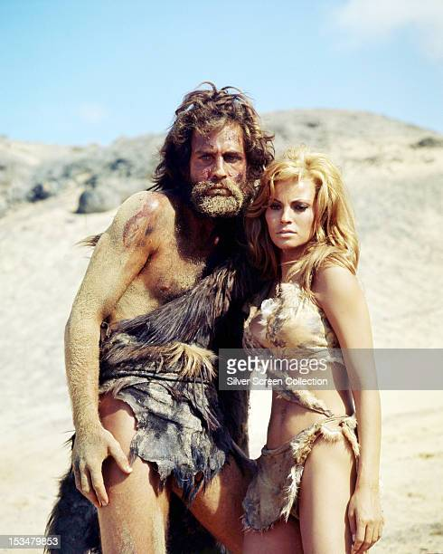 American actress Raquel Welch as Loana, and English actor John Richardson as Turak, in 'One Million Years BC', directed by Don Chaffey, 1966.