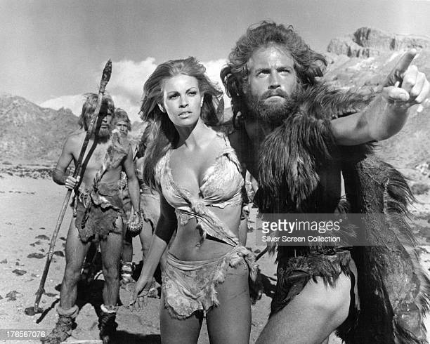 American actress Raquel Welch as Loana and English actor John Richardson as Turak in 'One Million Years BC' directed by Don Chaffey 1966