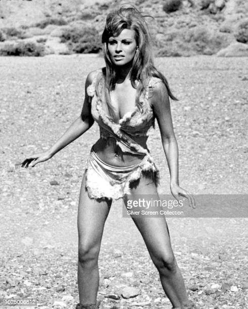 American actress Raquel Welch as Loana in a publicity still for the film 'One Million Years B.C.', 1966.