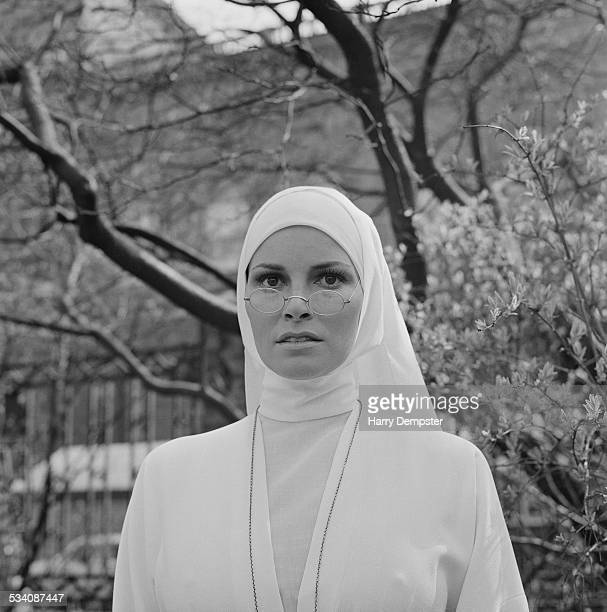 American actress Raquel Welch dressed as a nun for her part in Edward Dmytryk's 'Bluebeard' 19th March 1972