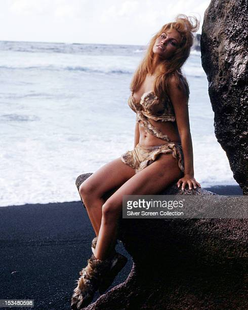 American actress Raquel Welch in a fur bikini as Loana in 'One Million Years BC' directed by Don Chaffey 1966
