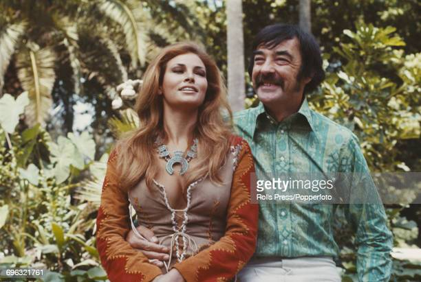 American actress Raquel Welch pictured together with her costar in the film 'The Beloved' Richard Johnson during a promotional visit to Rome Italy in...