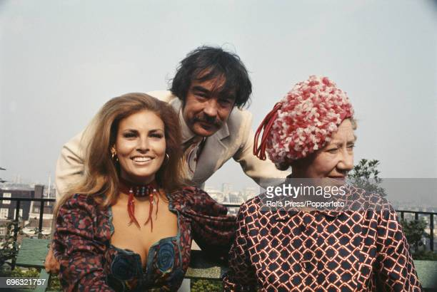 American actress Raquel Welch pictured together with her costars from the film 'The Beloved' Richard Johnson and Flora Robson during a promotional...