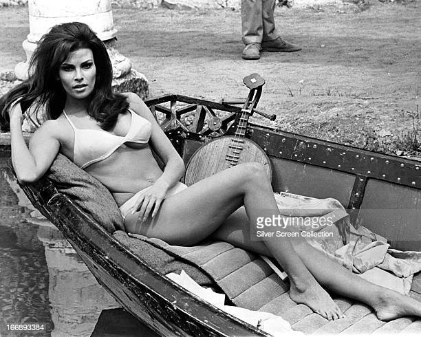 American actress Raquel Welch wearing a bikini on the set of 'The Biggest Bundle Of Them All', directed by Ken Annakin, 1968.