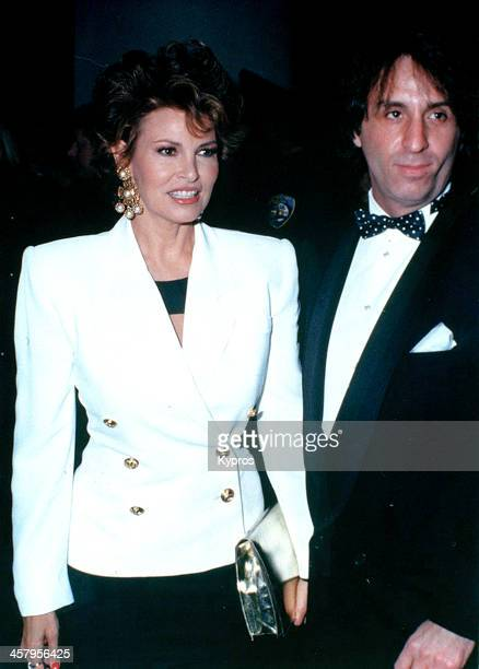 American actress Raquel Welch with actor Ron Silver at the 48th Annual Golden Globe Awards in Beverly Hills California 19th January 1991