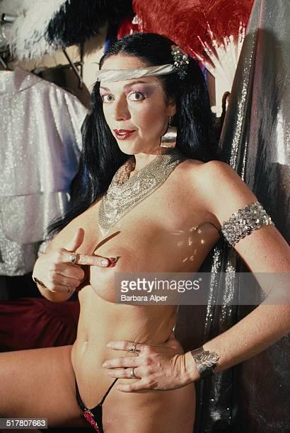 American actress Raven De La Croix backstage at Show World Center New York City 10th January 1984
