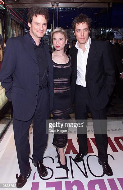 American actress Renee Zellweger British actor Hugh Grant and British actor Colin Firth arrive at the UK premiere of the film Bridget Jones' Diary at...