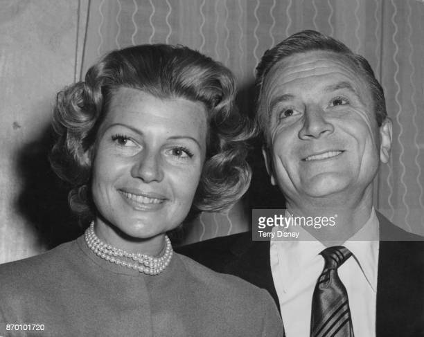 American actress Rita Hayworth and her husband film producer James Hill hold a press conference at Claridge's Hotel in London during their honeymoon...