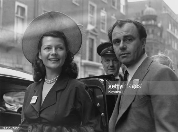 American actress Rita Hayworth and her husband Prince Aly Khan leave the Ritz Hotel in London for Ascot 15th June 1949
