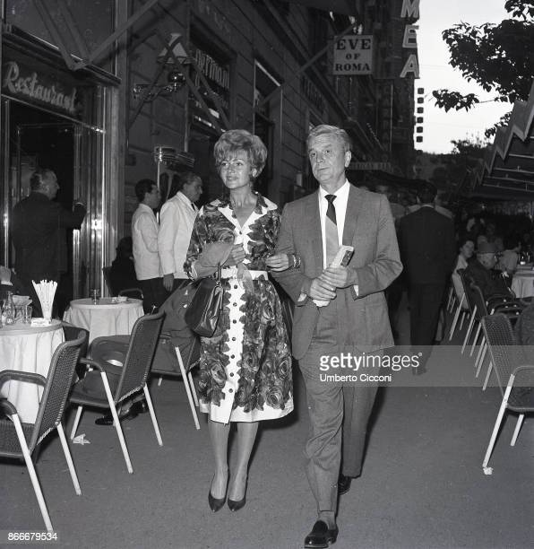 American actress Rita Hayworth walking in Via Veneto in Rome with her husband in May 1961