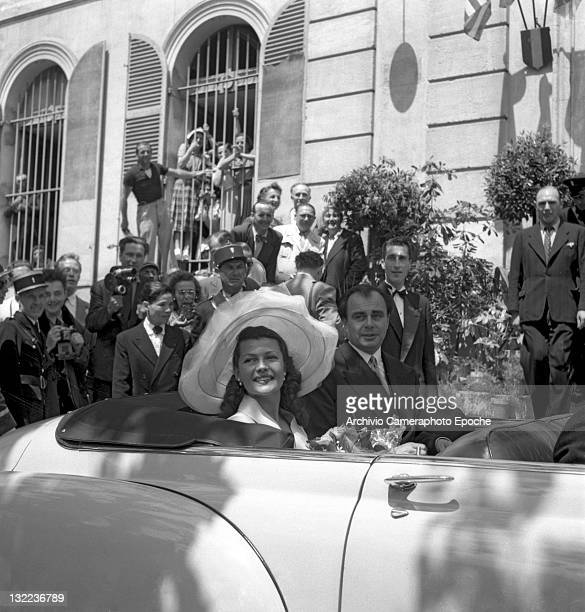 American actress Rita Hayworth with Ali Khan after their wedding Vallarius 1949
