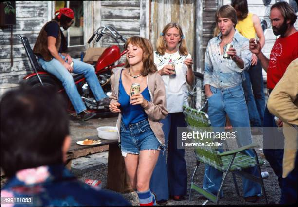 American actress Rosanna Arquette and unidentified others in a scene from the madefortelevision movie 'The Executioner's Song' Spanish Fork Utah 1981...