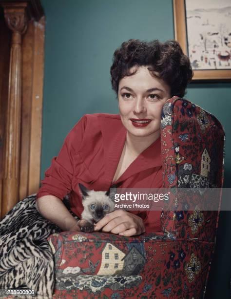 American actress Ruth Roman with a Siamese cat, circa 1955.
