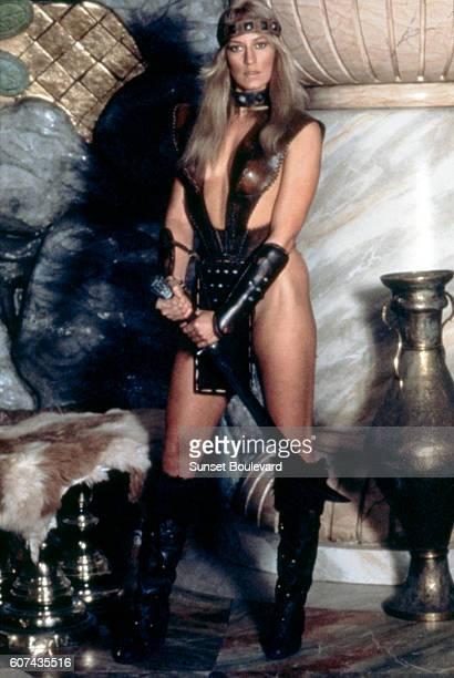American actress Sandahl Bergman on the set of Conan the Barbarian directed by John Milius