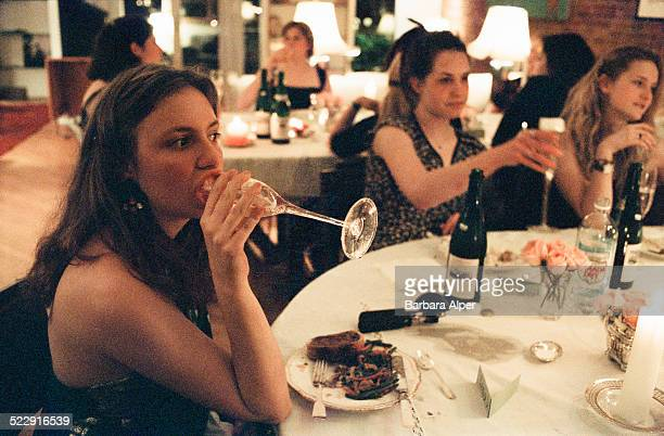 American actress screenwriter producer and director Lena Dunham hosts a 'Barefoot Formal' dinner party for twelve of her girlfriends from St Ann's...