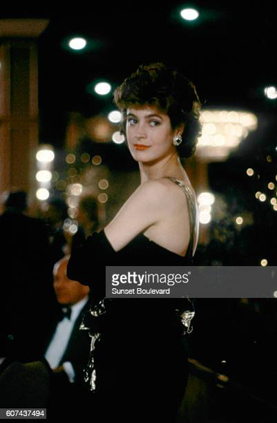American actress Sean Young on the set of No Way Out, based on the novel by Kenneth Fearing, and directed by Roger Donaldson.