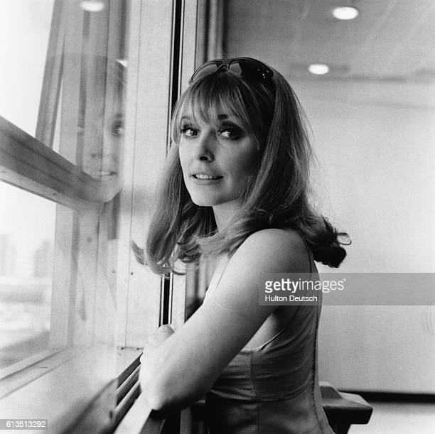 American actress Sharon Tate at London Airport in 1966 She was murdered by Charles Manson in California 1969