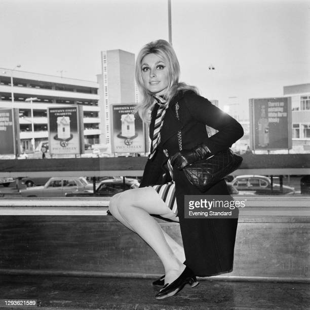 American actress Sharon Tate at London Airport, UK, 23rd February 1966.