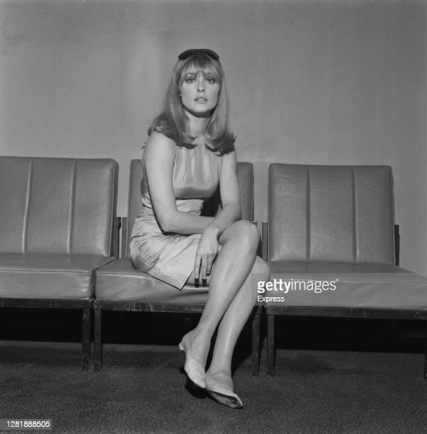 American actress Sharon Tate leaves London Airport UK 22nd July 1966