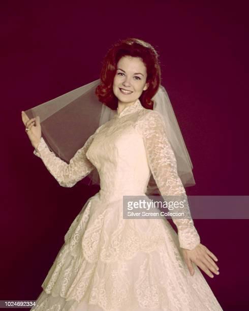 American actress Shelley Fabares in a wedding dress circa 1965